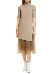 Brunello Cucinelli Tulle Hem Cashmere Blend Sweater Dress
