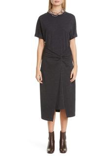 Brunello Cucinelli Twist Waist Wool Blend Jersey Midi Dress