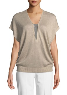 Brunello Cucinelli V-Neck Cap-Sleeve Paillette Top with Monili Inset