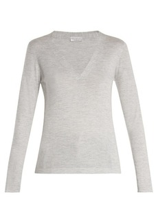 Brunello Cucinelli V-neck cashmere and silk-blend top