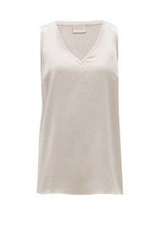 Brunello Cucinelli V-neck silk-blend satin top