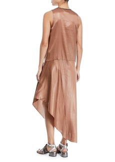 Brunello Cucinelli V-Neck Sleeveless Laminated Silk Dress with Asymmetric Hem