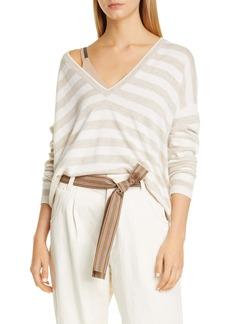 Brunello Cucinelli V-Neck Stripe Cashmere & Linen Sweater