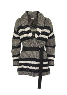 Brunello Cucinelli Virgin Wool, Mohair And Alpaca Belted Cardigan Sweaters Grey And Blue