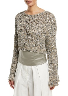 Brunello Cucinelli Waxed Cotton-Linen Tweed Cropped Pullover with Clear Paillettes