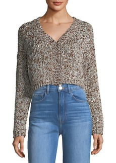 Brunello Cucinelli Waxed Tweed Cropped Snap-Front Cardigan