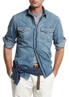 Brunello Cucinelli Western-Style Button-Down Denim Shirt
