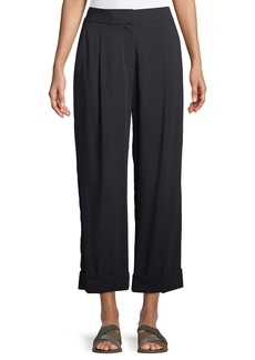 Brunello Cucinelli Wide-Leg Wool Voile Cropped Pants w/ Cuff