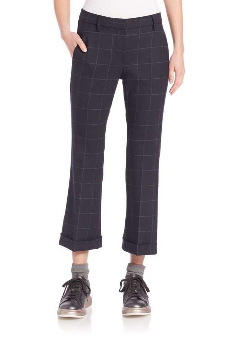 Brunello Cucinelli Window Pane Kick Flare Trousers