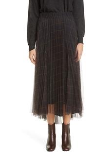 Brunello Cucinelli Windowpane Check Pleated Tulle Midi Skirt