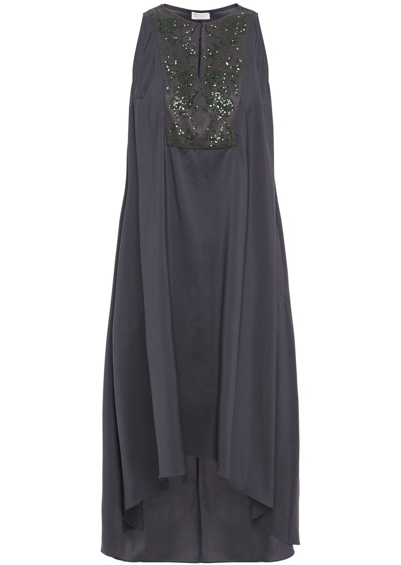 Brunello Cucinelli Woman Asymmetric Bead And Sequin-embellished Silk-blend Midi Dress Anthracite