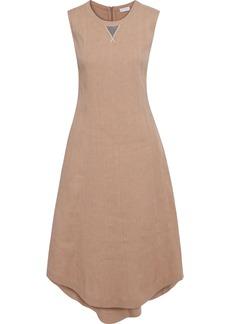 Brunello Cucinelli Woman Asymmetric Bead-embellished Linen-blend Midi Dress Neutral