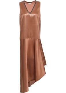 Brunello Cucinelli Woman Asymmetric Bead-embellished Silk-satin Midi Dress Copper