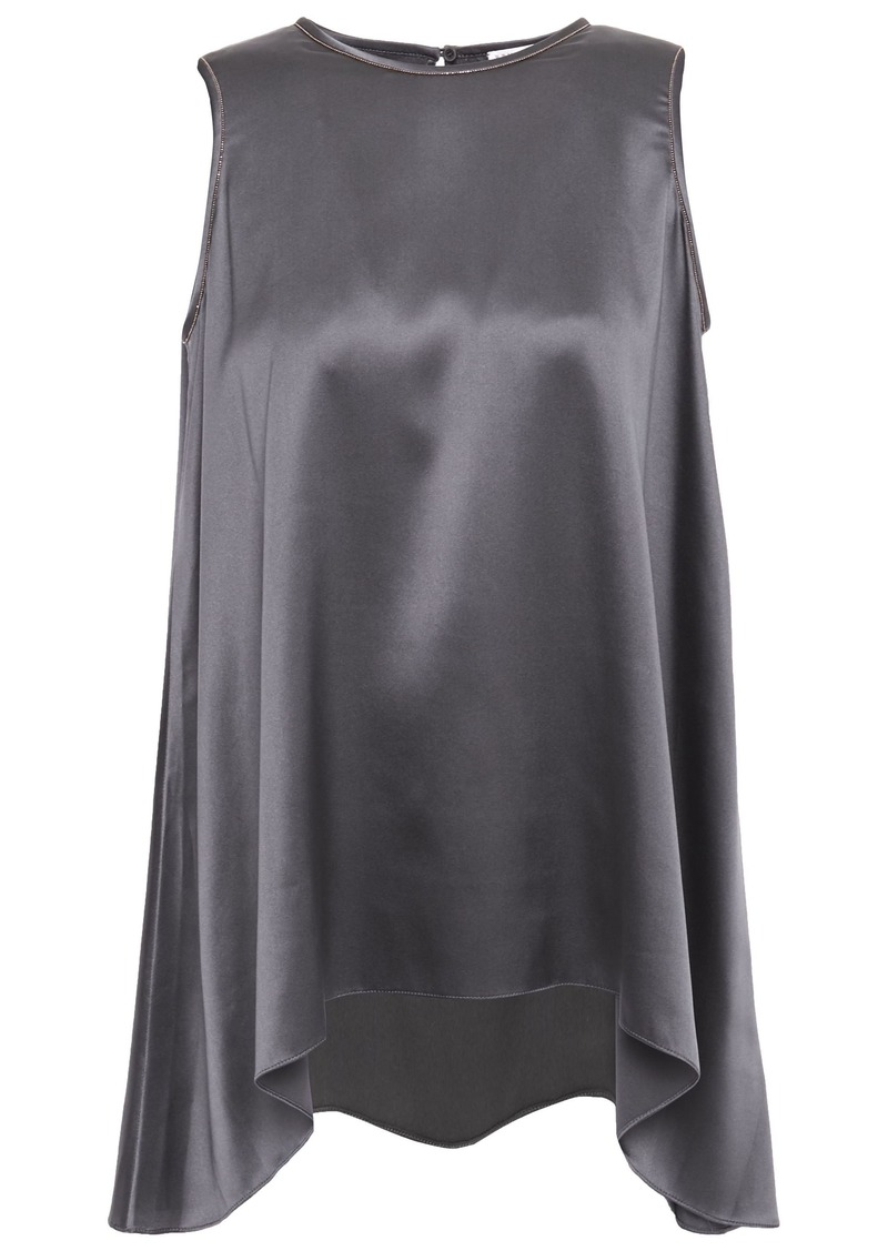 Brunello Cucinelli Woman Asymmetric Bead-embellished Stretch-silk Satin Top Anthracite