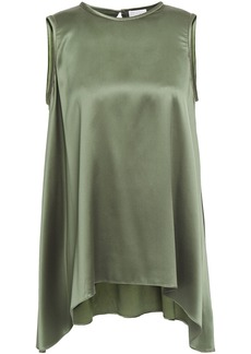 Brunello Cucinelli Woman Asymmetric Bead-embellished Stretch-silk Satin Top Army Green