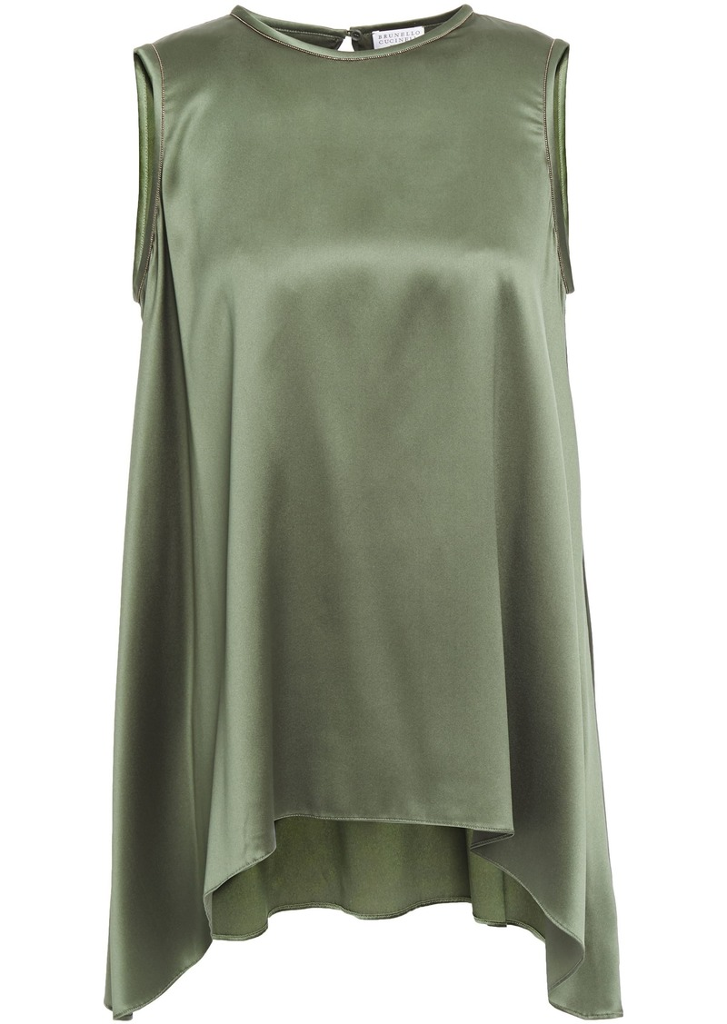 Brunello Cucinelli Woman Asymmetric Bead-embellished Stretch-silk Satin Top Army Green