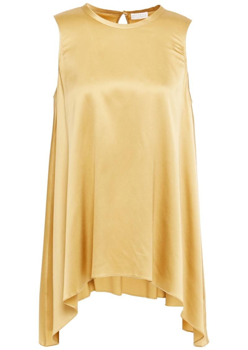 Brunello Cucinelli Woman Asymmetric Bead-embellished Stretch-silk Satin Top Mustard