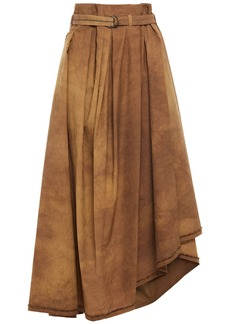 Brunello Cucinelli Woman Asymmetric Bead-embellished Tie-dyed Cotton-blend Poplin Skirt Brown