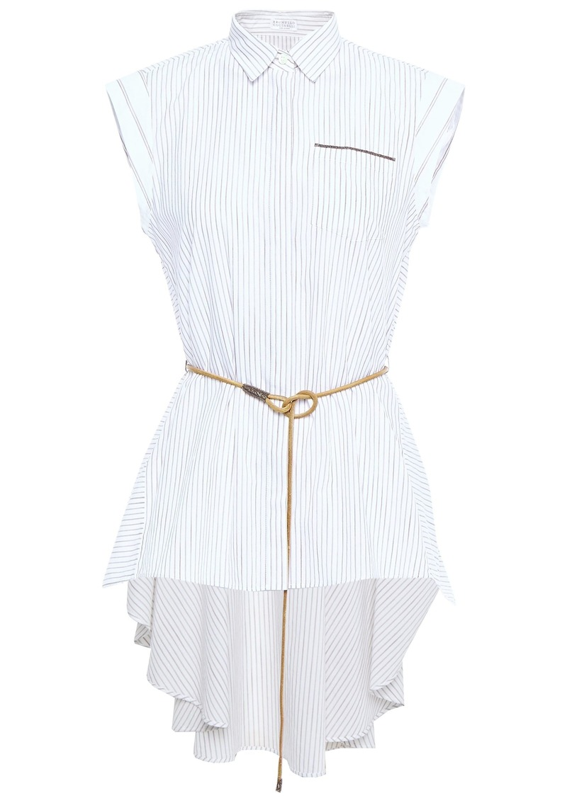 Brunello Cucinelli Woman Asymmetric Belted Bead-embellished Striped Cotton-poplin Shirt Ivory
