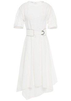Brunello Cucinelli Woman Asymmetric Belted Cotton-poplin Dress White