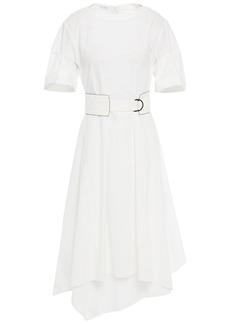 Brunello Cucinelli Woman Asymmetric Belted Cotton-poplin Dress White
