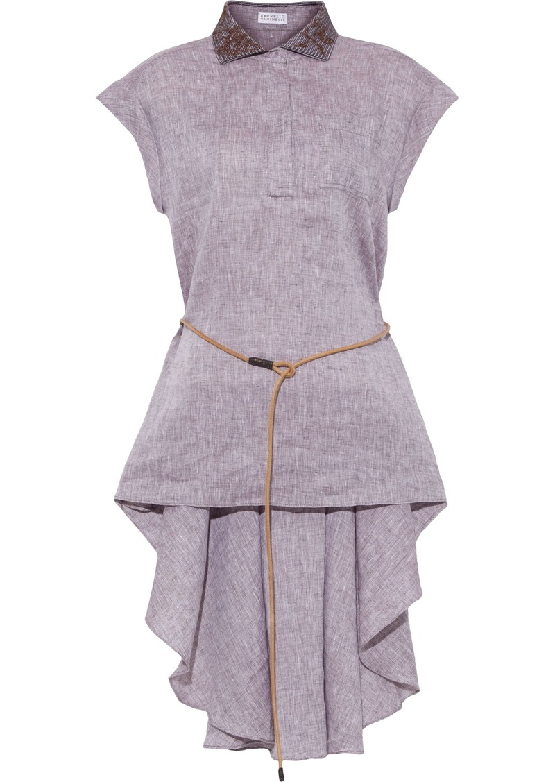 Brunello Cucinelli Woman Asymmetric Belted Embellished Linen Top Taupe