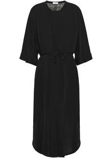 Brunello Cucinelli Woman Asymmetric Belted Linen-blend Cardigan Black