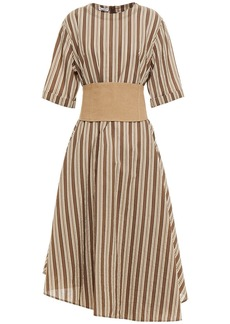 Brunello Cucinelli Woman Asymmetric Belted Striped Cotton And Silk-blend Midi Dress Brown