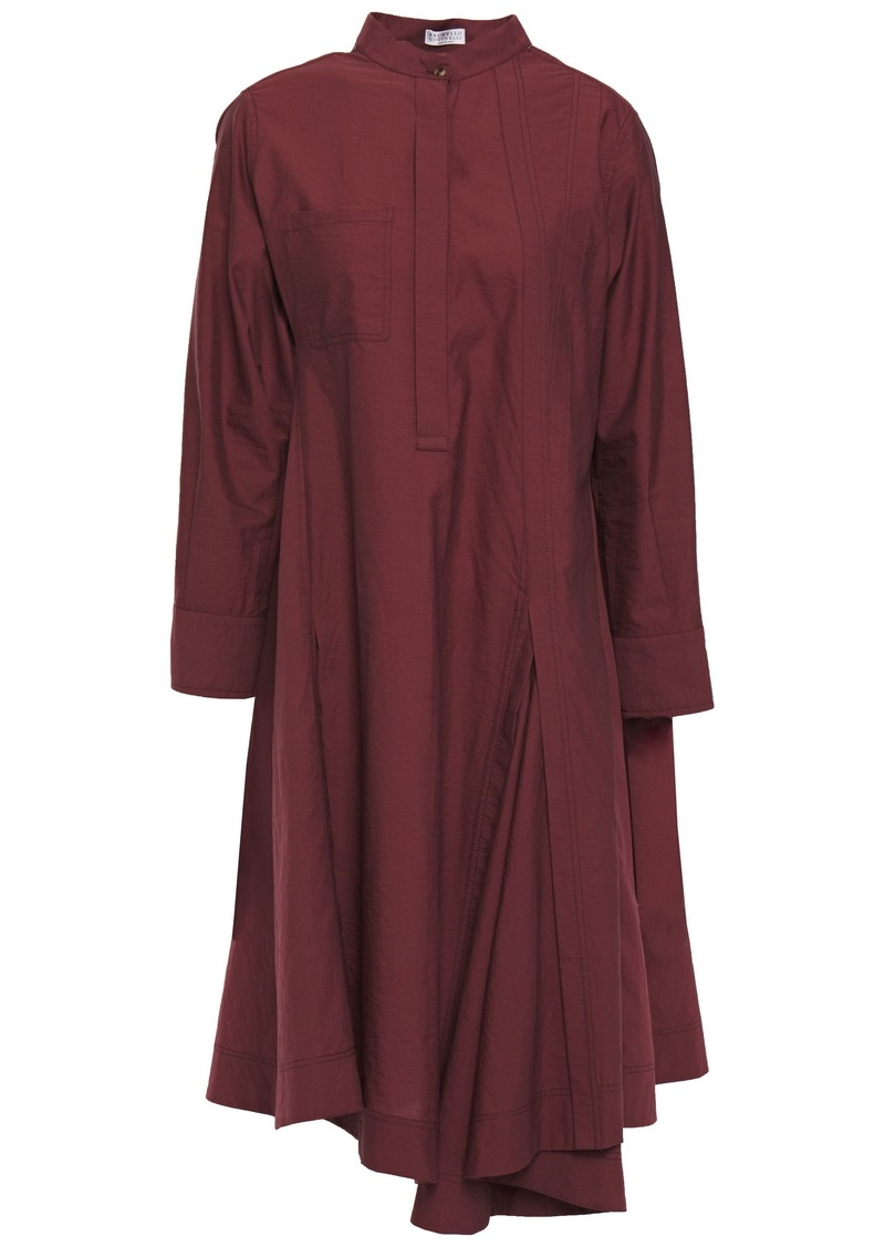Brunello Cucinelli Woman Asymmetric Crinkled Cotton-blend Shirt Dress Plum