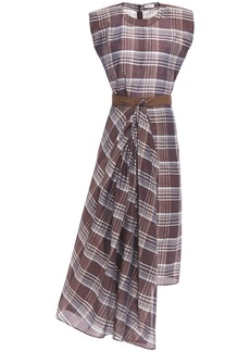 Brunello Cucinelli Woman Asymmetric Draped Checked Cotton And Silk-blend Dress Burgundy