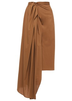 Brunello Cucinelli Woman Asymmetric Draped Cotton-poplin Midi Wrap Skirt Chocolate