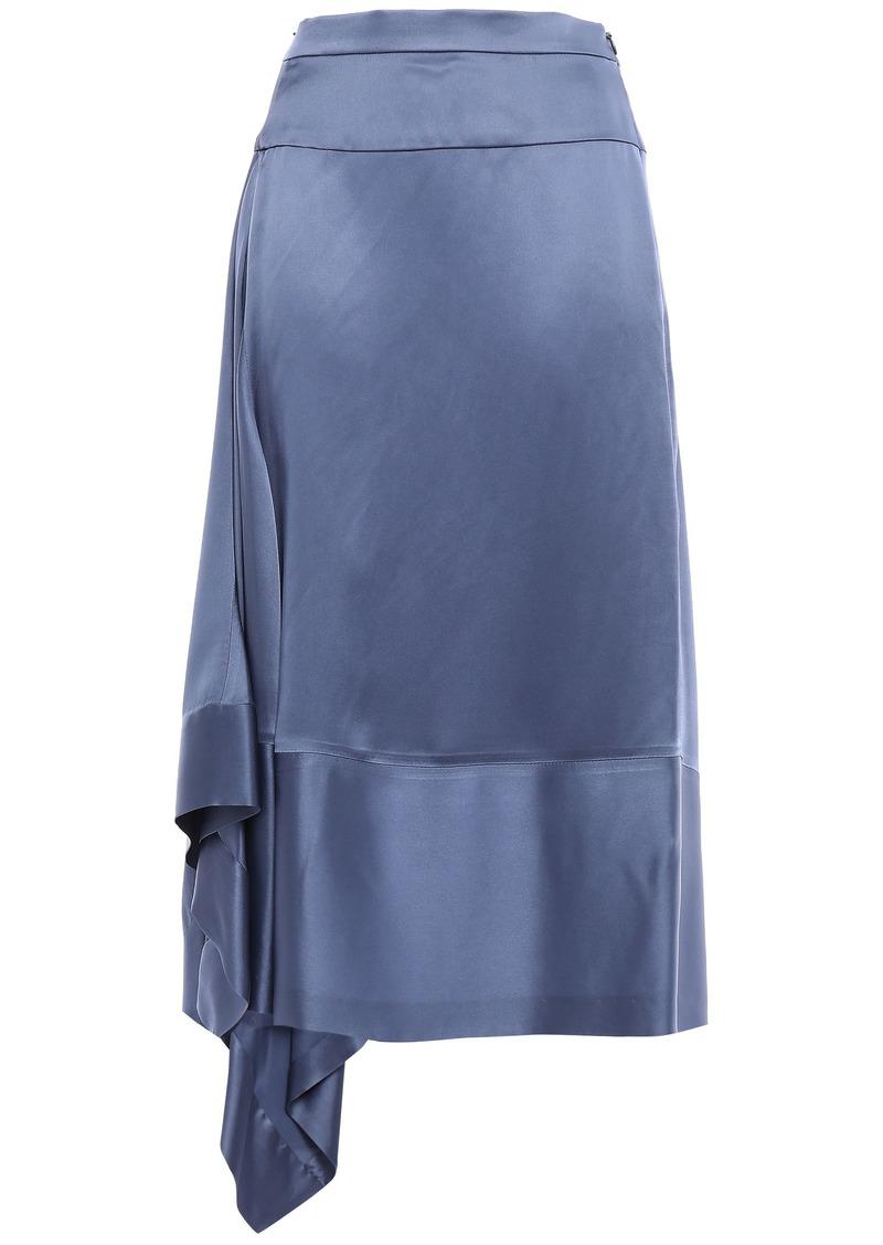 Brunello Cucinelli Woman Asymmetric Draped Satin Midi Skirt Light Blue