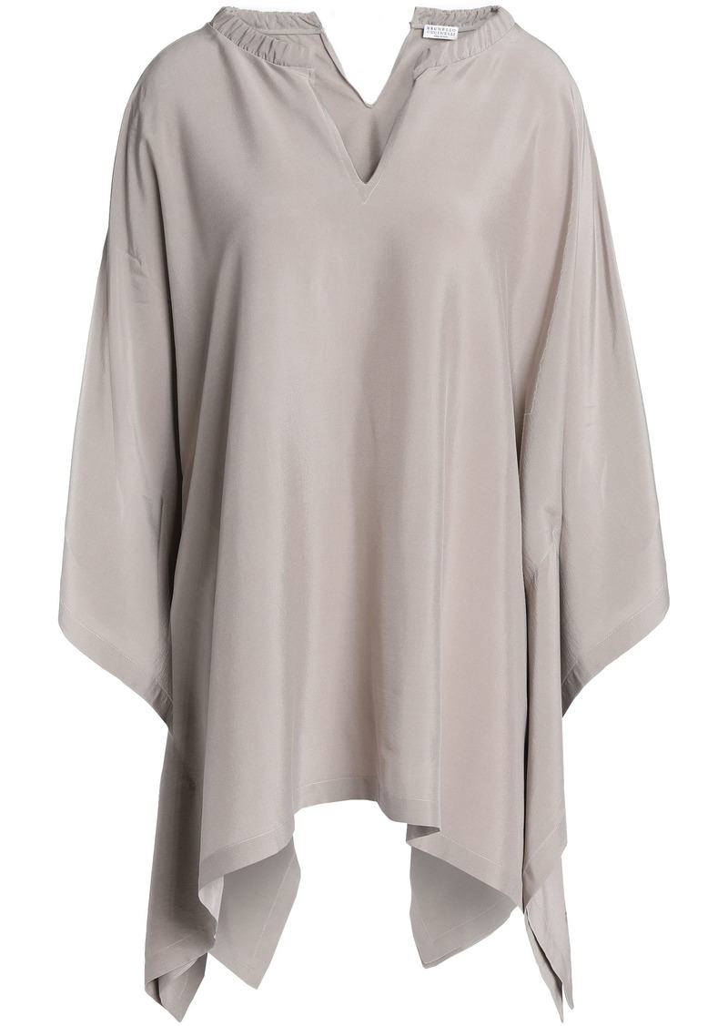 Brunello Cucinelli Woman Asymmetric Embellished Stretch-silk Top Mushroom