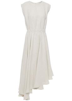 Brunello Cucinelli Woman Asymmetric Linen Dress Light Gray