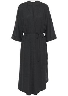Brunello Cucinelli Woman Asymmetric Mélange Cashmere And Silk-blend Cardigan Charcoal