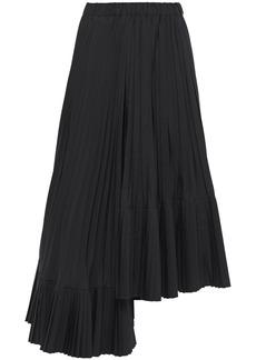 Brunello Cucinelli Woman Asymmetric Pleated Poplin Midi Skirt Black