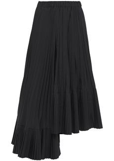 Brunello Cucinelli Woman Asymmetric Pleated Poplin Midi Skirt Black