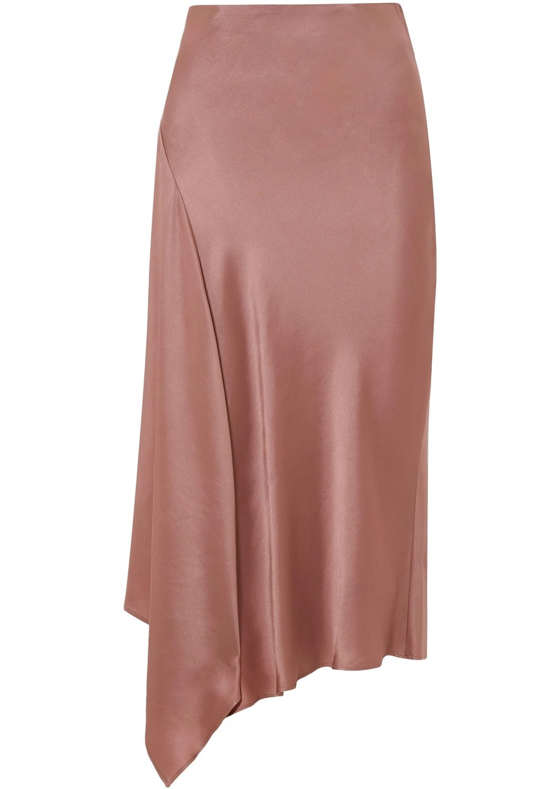 Brunello Cucinelli Woman Asymmetric Satin Midi Skirt Antique Rose