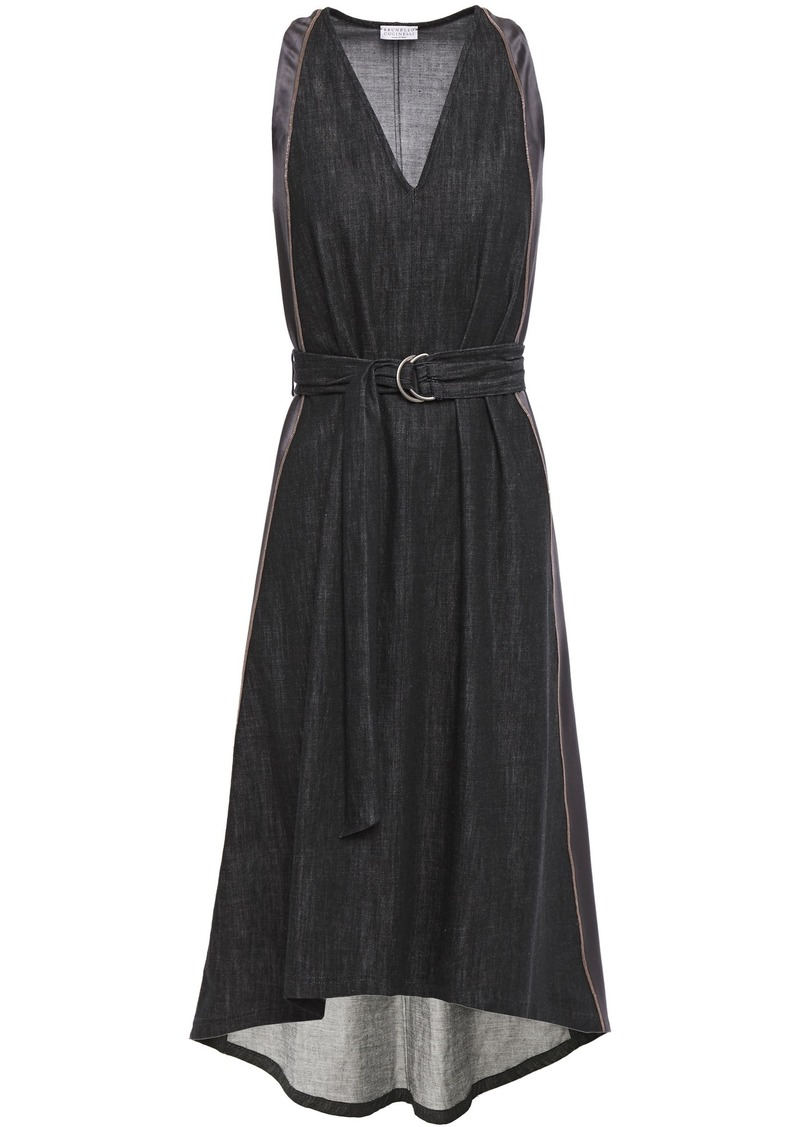 Brunello Cucinelli Woman Asymmetric Satin-trimmed Denim Dress Black