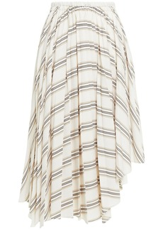 Brunello Cucinelli Woman Asymmetric Striped Woven Skirt Neutral