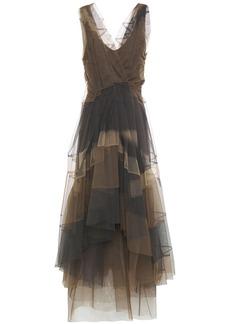 Brunello Cucinelli Woman Asymmetric Wrap-effect Paneled Tulle Midi Dress Chocolate
