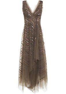 Brunello Cucinelli Woman Asymmetric Wrap-effect Sequin-embellished Tulle Midi Dress Mushroom