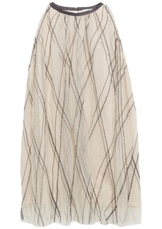Brunello Cucinelli Woman Bead And Sequin-embellished Embroidered Tulle Top Beige