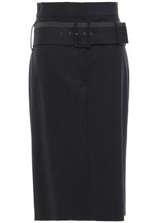 Brunello Cucinelli Woman Bead-embellished Belted Wool-blend Midi Skirt Black