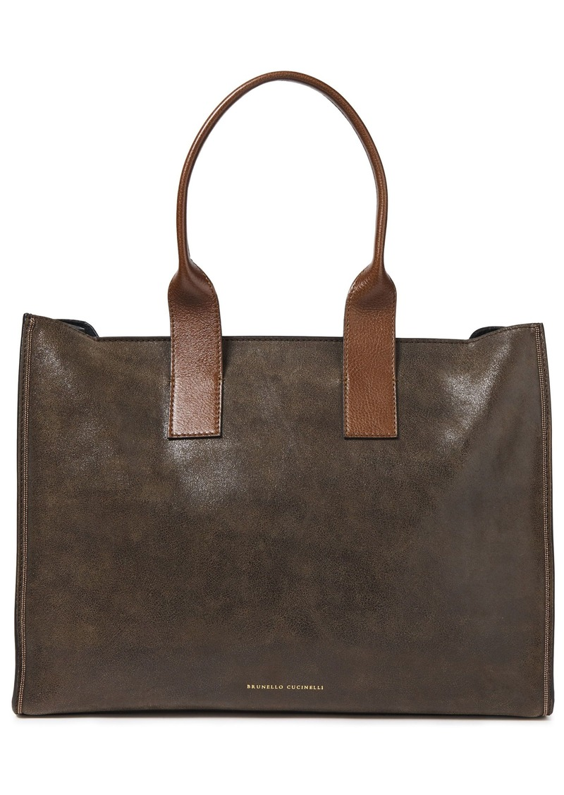 Brunello Cucinelli Woman Bead-embellished Brushed-leather Tote Chocolate