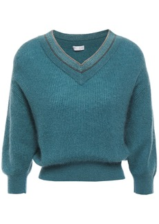 Brunello Cucinelli Woman Bead-embellished Brushed Ribbed-knit Sweater Teal