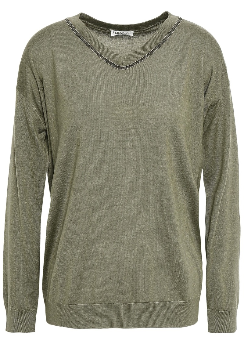 Brunello Cucinelli Woman Bead-embellished Cashmere And Silk-blend Sweater Army Green