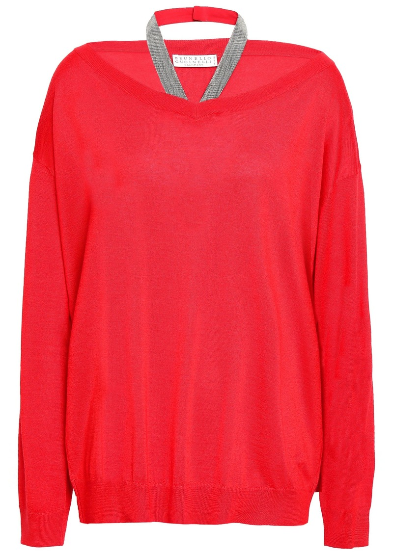 Brunello Cucinelli Woman Cutout Cashmere And Silk-blend Sweater Red