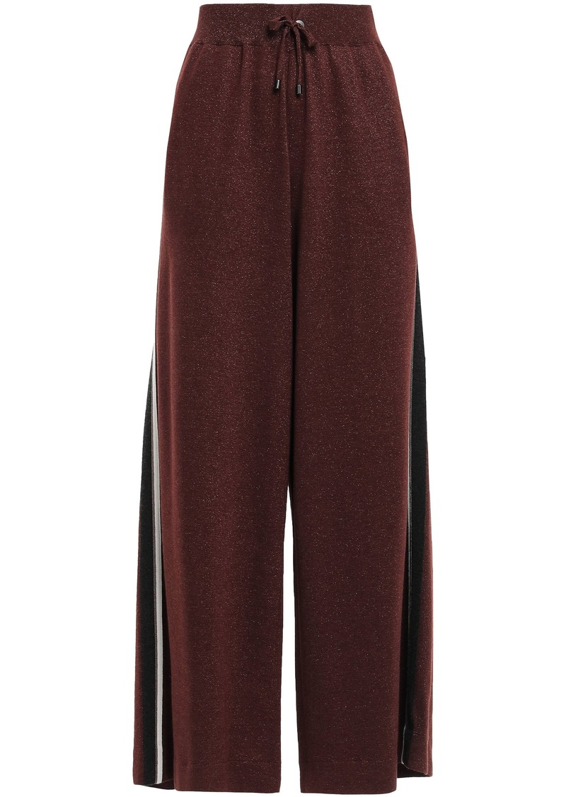 Brunello Cucinelli Woman Bead-embellished Cashmere-blend Track Pants Burgundy