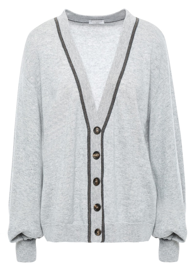 Brunello Cucinelli Woman Bead-embellished Cashmere Cardigan Light Gray